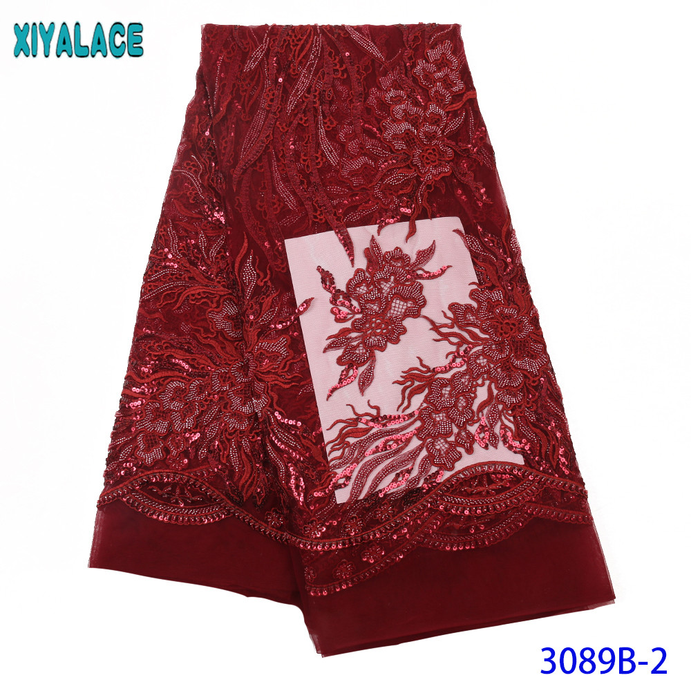 Red Wine African Lace Fabric 2019 Embroidered Nigerian Beaded Laces Fabric High Quality French Tulle Lace For Dresses KS3089B