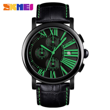 SKMEI Sport Quartz Watches Men Leather Strap Date Display Men Watch Waterproof Calendar Wristwatches Relogios Masculino 9196 weide watch men sport water resist black leather strap led display auto date quartz wristwatches masculino clock relojes hombre