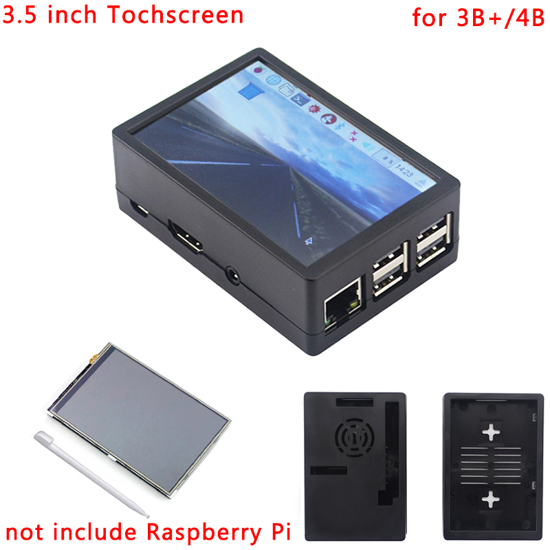Raspberry Pi 3 Model B+ 3.5 Inch Touchscreen 480*320 TFT LCD  + ABS Case Black Gray Box Also For Raspberry Pi 4 Model B / 3B+