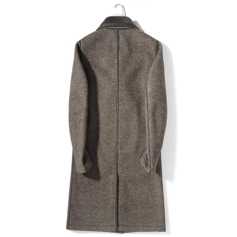 Men's Real Fur Coat Autumn Winter Jacket Double-breasted Wool Coats Overcoat Plus Size Abrigo Hombre M8672B KJ3511