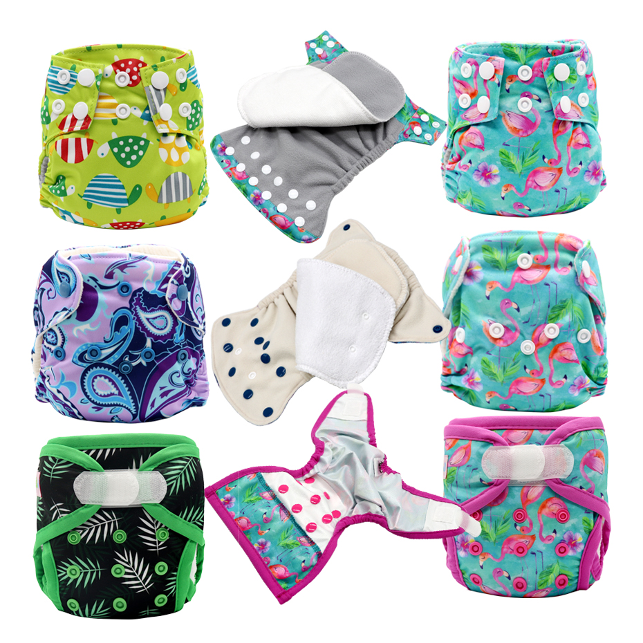 MABOJ Newborn Diaper AIO Baby Nappies Reusable Newborn Nappy Cover Insert Cloth Diapers Baby AI2 Porket Adjustable Waterproof