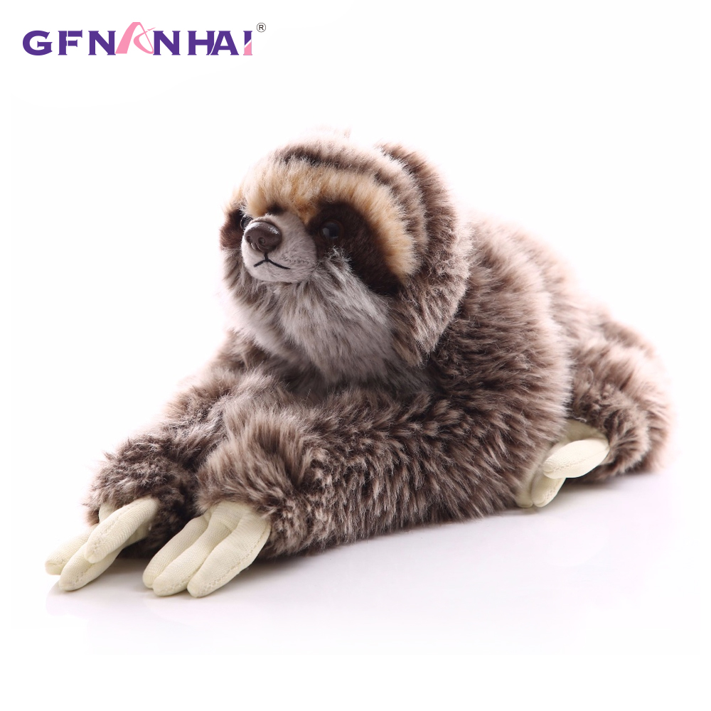 1pc 35cm Premium Three Toed Sloth Real Life Plush Toy Stuffed Animal Folivora Toy For Children Kids Birthday Christmas Gift