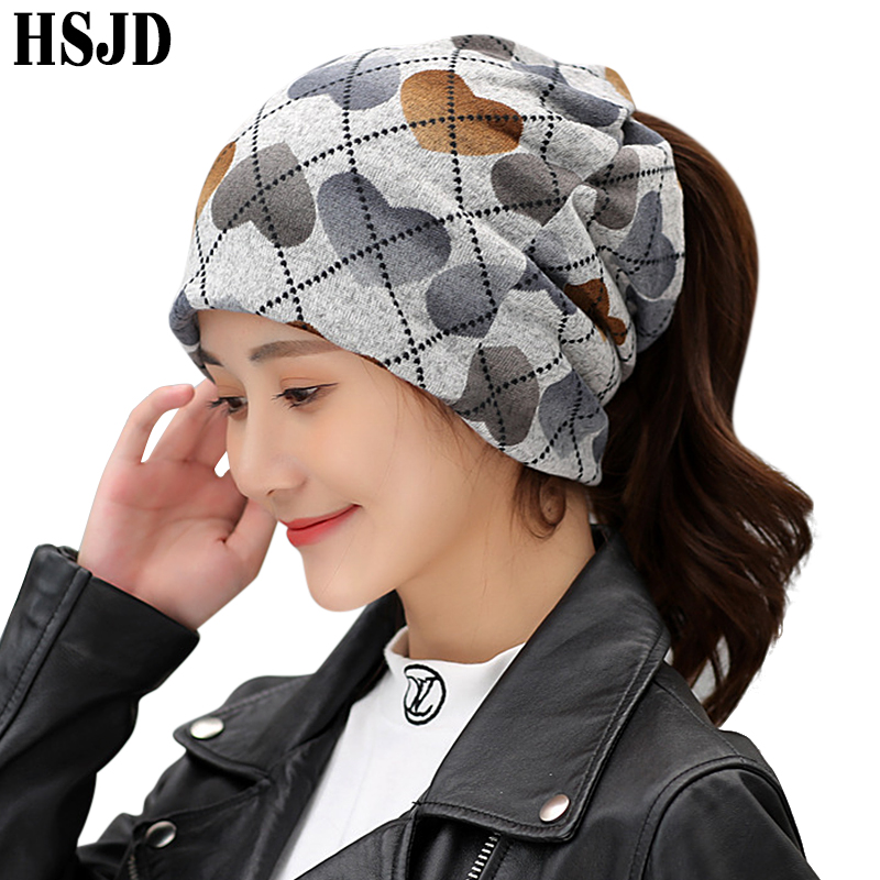 2019 Spring Autumn Cotton Hip Hop Hat Female Heart Print Cap Punk Style Scarf Dual-Use Caps Winter Warm Women's Ponytail Hats
