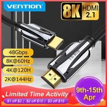 Vention HDMI 2.1 kablosu 8K 60Hz 4K 120Hz 48Gbps dijital HDMI kablosu Xiaomi Mi kutusu PS5 PS4 Splitter HDTV genişletici 8K HDMI kablosu