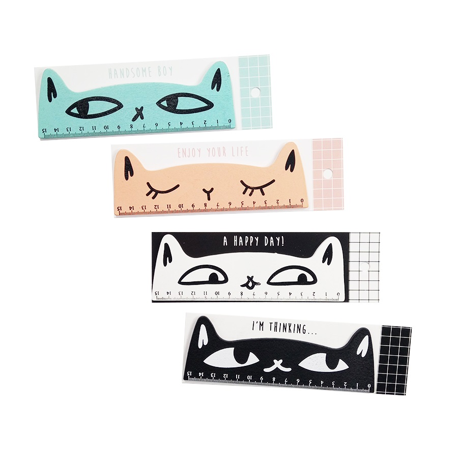 1Pcs/lot Cute Cat Wooden Straight Ruler Multi-function Puzzle Drafting Tools Children Learning Tool For Students Drawing Toys