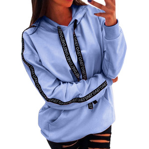 40@ Women Plus Size Long Sleeve Solid Color Sweatshirt Hooded Pullover Tops Shirt 2020 Autumn Winter Women Girls Pullovers