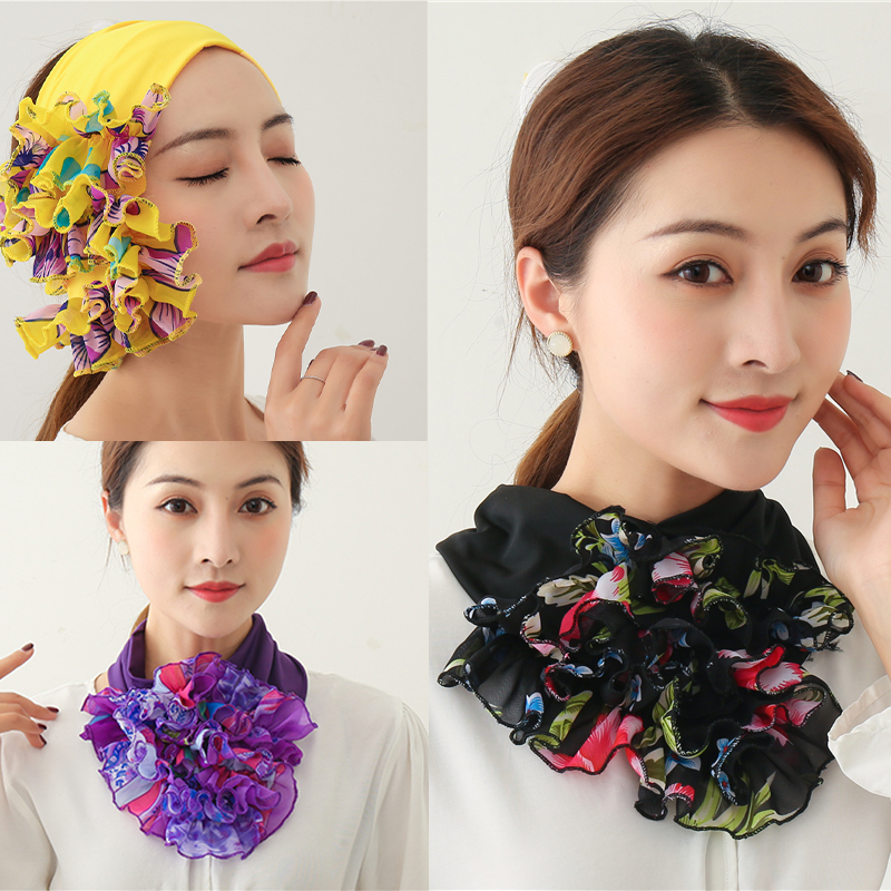New Floral Ring Neck Scarf Women Chiffon Collar Tie Foulard Hair Headband Scarves Muslim Turban Solid Office Neckerchief Skinny