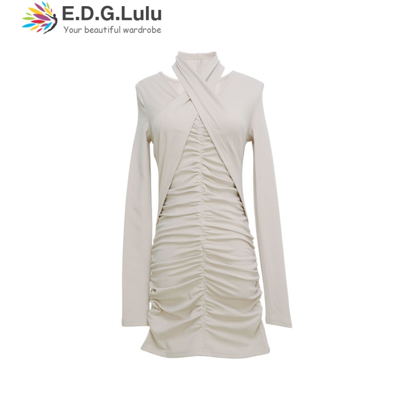 EDGLuLu fashion women long sleeve bandage stretch bodycon plain cross black white knit ruched mini asymetrical <font><b>dress</b></font> image
