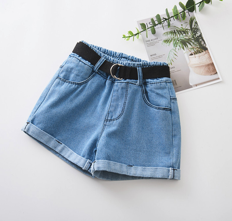 New 2019 Summer Baby Girls Denim Shorts Korean Children's Wild Washed Hot Pants Kids Flexible Jeans Shorts With Belt Gifts