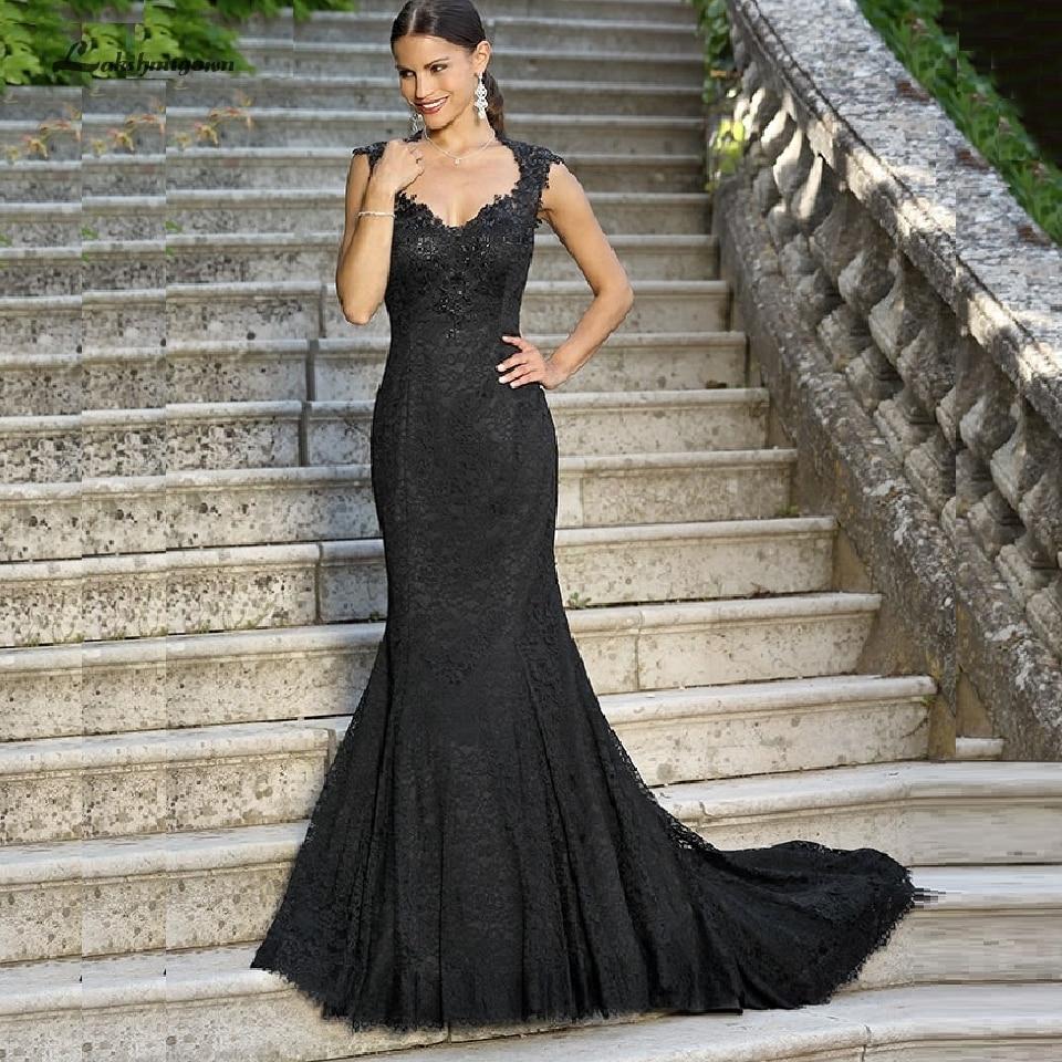 Lakshmigown Gothic Black Mermaid Wedding Dresses 2020 New Style Sexy Bridal Wedding Gowns Sheer Buttons Back Vestido De Novia
