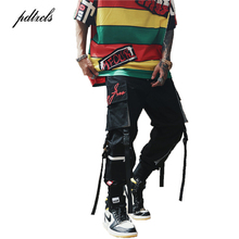 Guo-Chao Tang 2019 NEW Side Pockets Reflective Stripe Men Hip Hop Joggers Trousers Male Fashion Ribbons Embroidery Harem Pants guo chao tang 2019 new autumn irregularity color patchwork printed plaid men shirts hip hop casual ribbon male shirt streetwear