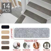 14 pièces auto-adhésif tapis d'escalier 20x75cm allonger anti-dérapant tapis tapis tapis collant fond à plusieurs reprises-utiliser tapis de sécurité pour la maison