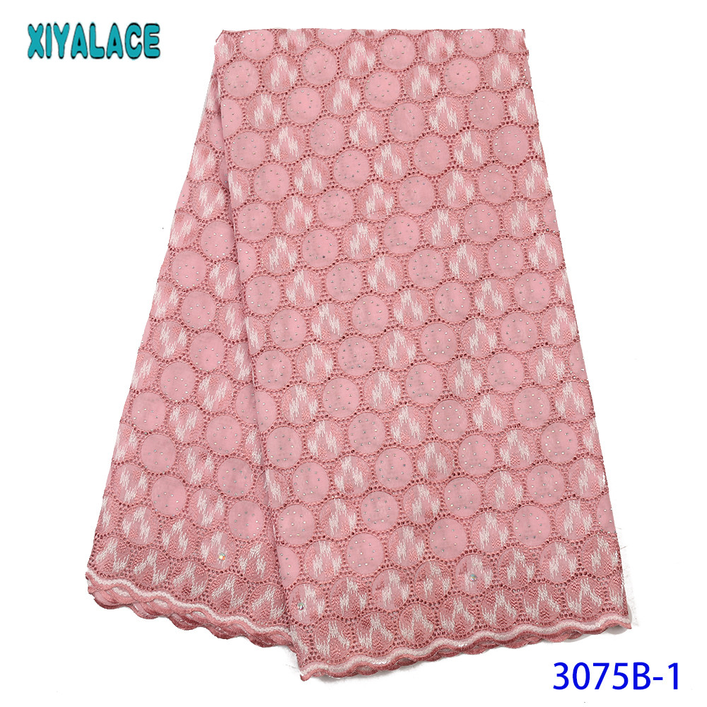 High Quality Lace African Lace Fabric 2019 Nigerian Laces Fabrics Swiss Voile Lace With Stones For Dresses KS3075B