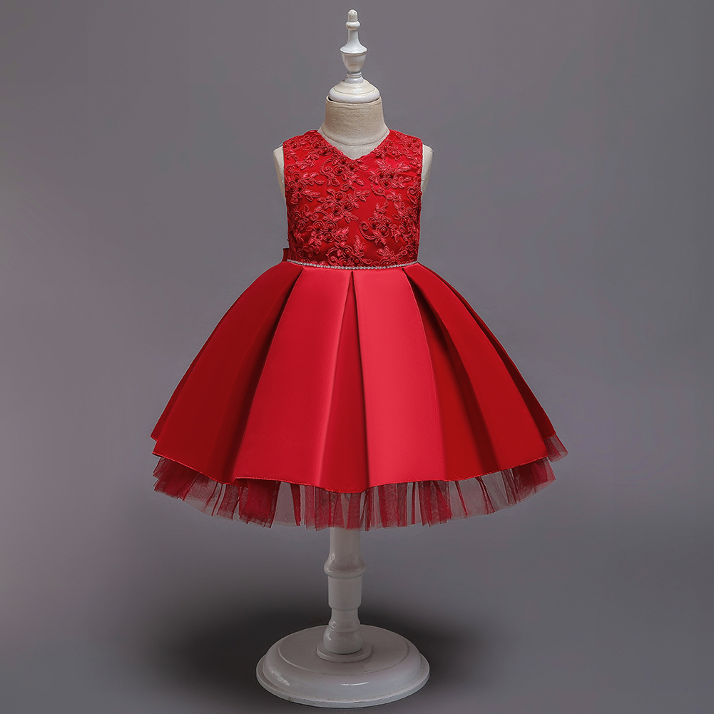 New Style GIRL'S Gown Europe And America Top Grade Princess Skirt Birthday Party Solid Color Tutu Baby Wash Formal Dress Summer