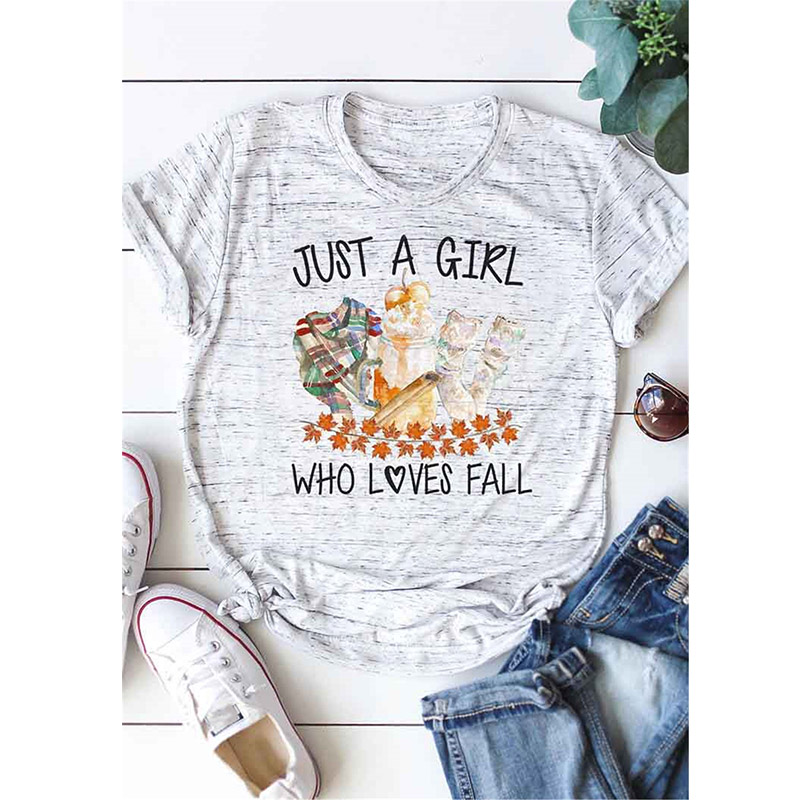 Just A Girl Who Loves Fall Letter Print Women T shirt Cute <font><b>Halloween</b></font> <font><b>Graphic</b></font> <font><b>Tshirts</b></font> Casual Harjauku Summer Vintage T-shirt image