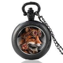 Classic Steampunk Fox Design Glass Cabochon Quartz Pocket Watch Vintage Men Women  Pendant Necklace Chain Clock