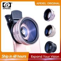 APEXEL-lente profesional 2 en 1 para cámara de teléfono, lente Macro HD de 0.45X, gran angular + 12.5X, para iPhone 8, 7, 6S Plus, Xiaomi, Samsung y LG