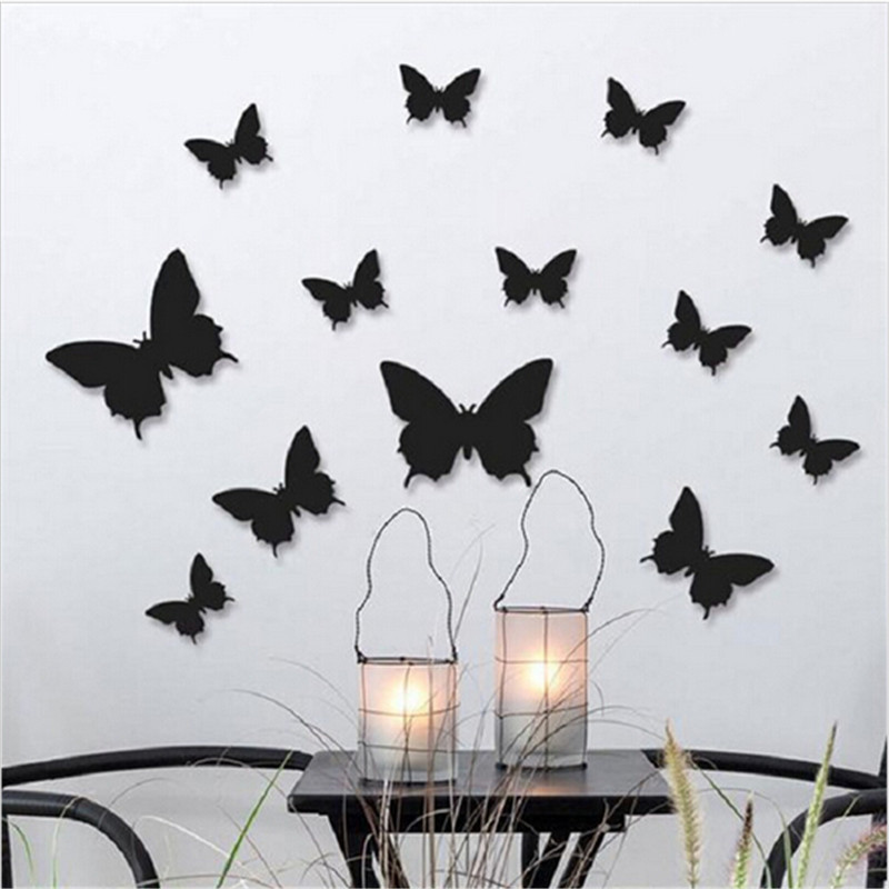 12 Pcs/Lot PVC 3D DIY Butterfly Wall Stickers Home Decor Poster for Kitchen Bathroom Adhesive to Wall Decals Decoration(China)