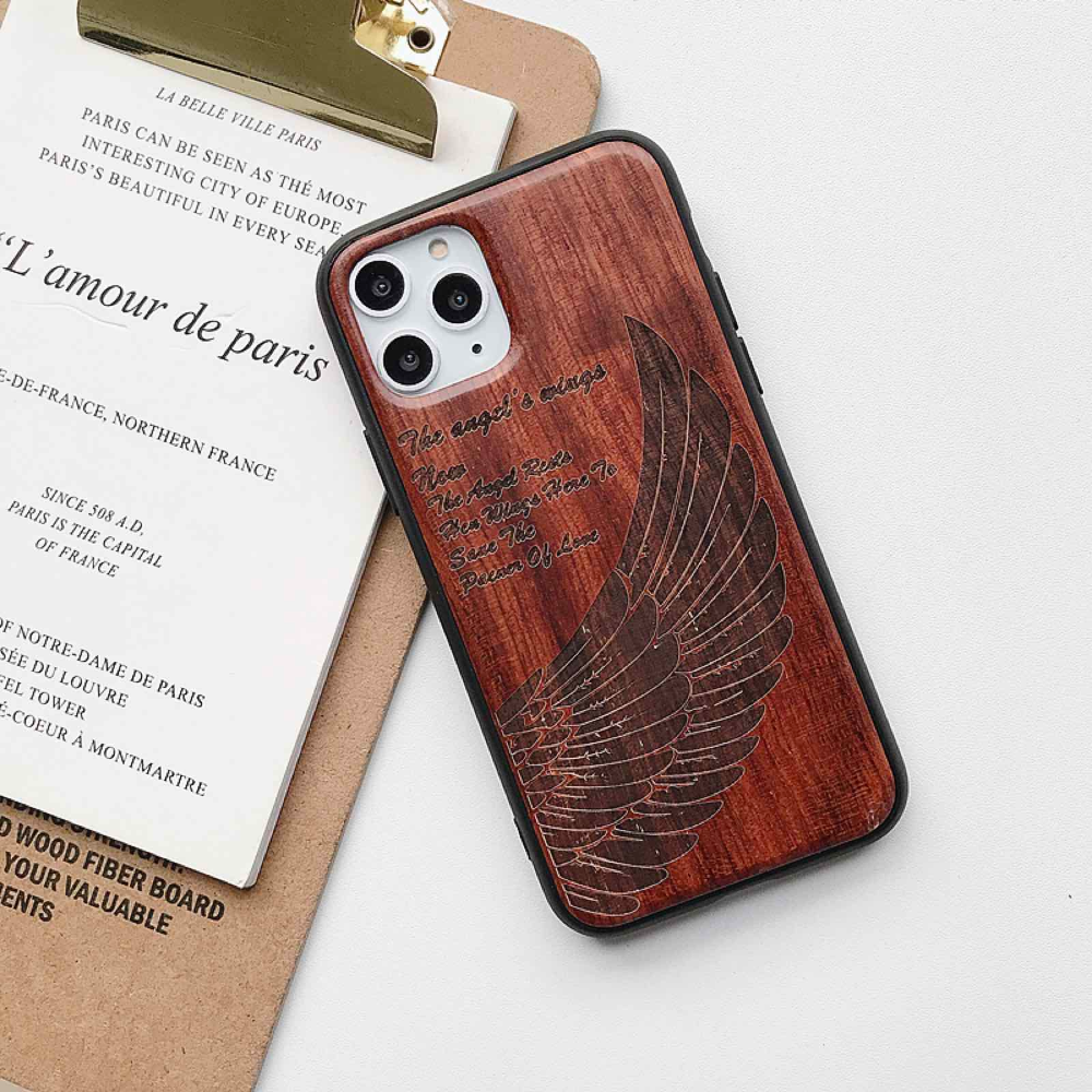 Natural Laser Carving Wooden Phone Case For iPhone 12 Pro Max  3