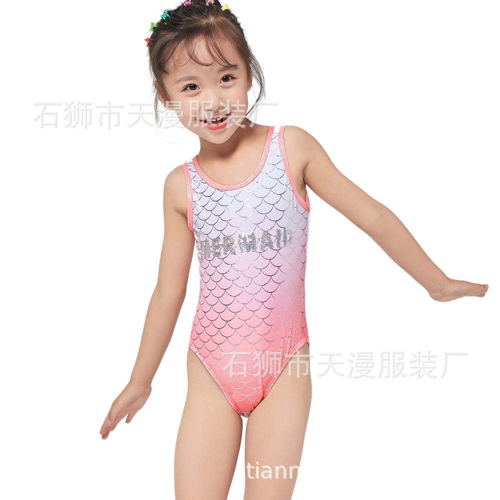 2019 New Style Children One-piece Swimwear Bronzing Printed High-End Fashion KID'S Swimwear Embroidery Bronze KID'S Swimwear