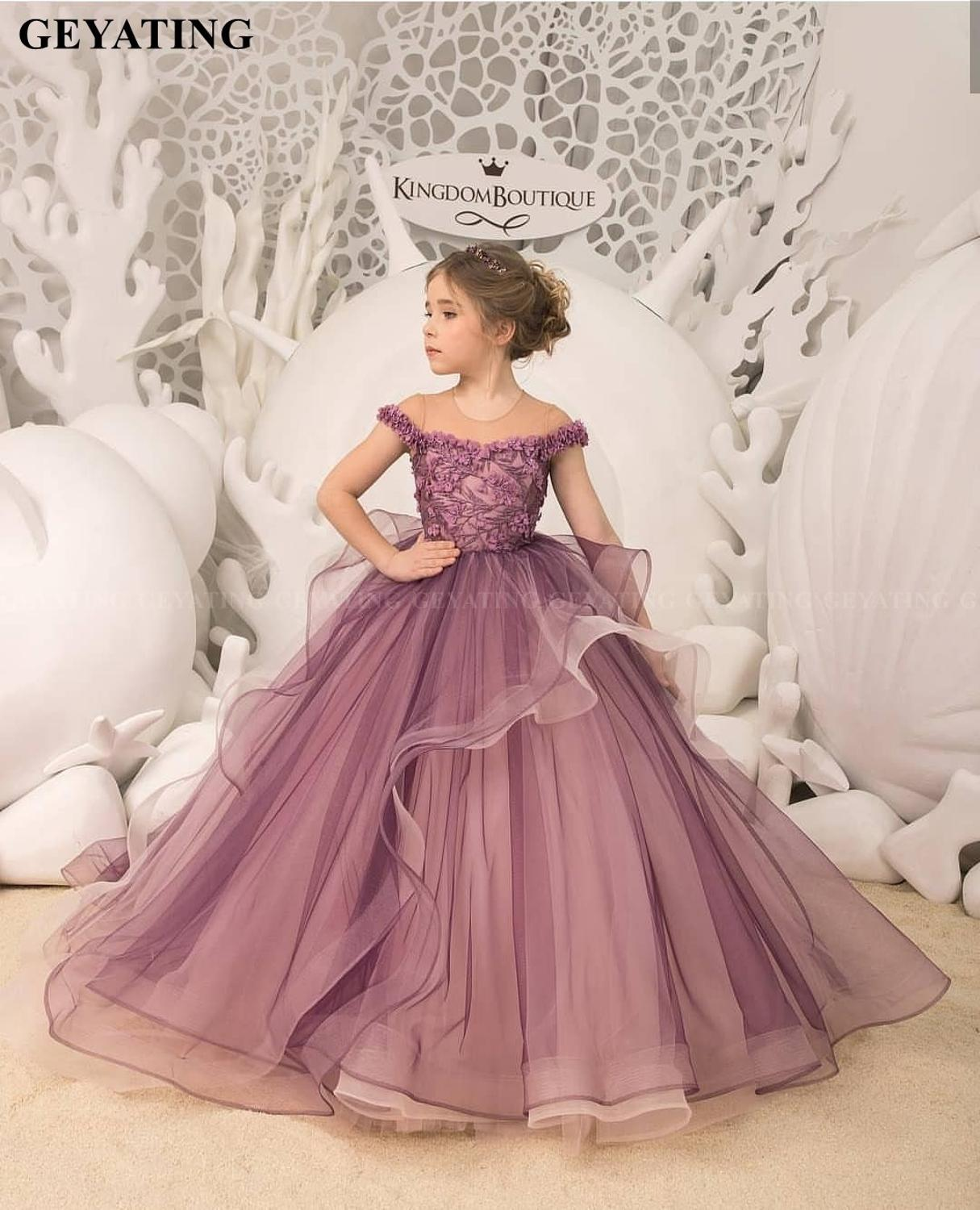 Purple Ball Gown   Flower     Girls     Dress   2020 Pageant First Communion   Girl   Princess Birthday Party   Dress   for   Girls