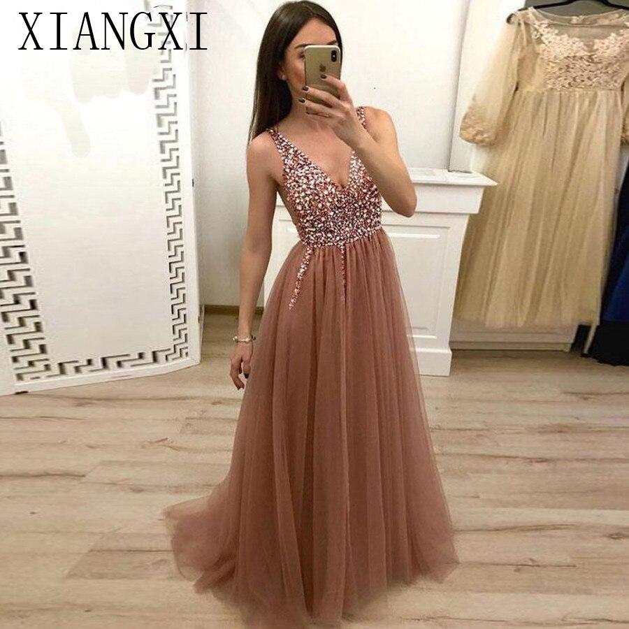 A-Line Beaded V-Neck Tulle Long Prom Dresses Brown Floor Length Sleeveless Crystals Evening Dress Vestidos De Graduacion