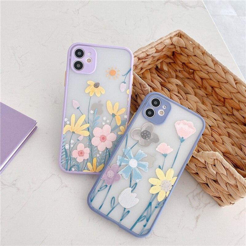 Luxury Cute Flower Case For iPhone 11 Pro Max X XR XS Max 7 8 Plus SE2020 Floral Relief Matte Bumper Phone Cover Coque Funda