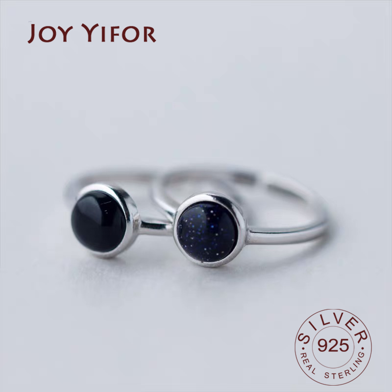 Real 925 Sterling Silver black Zircon Round Ring For Fashion Women Cute Fine Jewelry 2019 Minimalist Accessories Gift