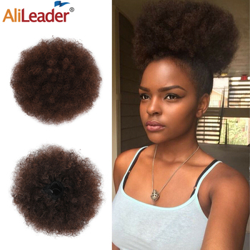 Alileader Fashion Hair Buns Afro Drawstring Ponytail Fluffy Synthetic Afro Puff Hair Bun Clips In Hair Tail Ponytail Accessories afro vegan
