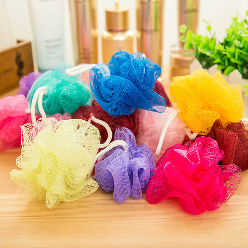 5Pcs Bath Shower Wash Body Exfoliate Puff Sponge Mesh Net Ball E5R1