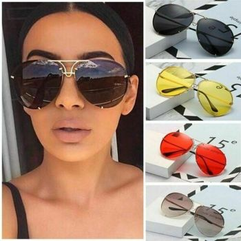 Elbru Classic Retro Oversize Sunglasses Women Metal Frame Marine Lens Pilot Large Aviation