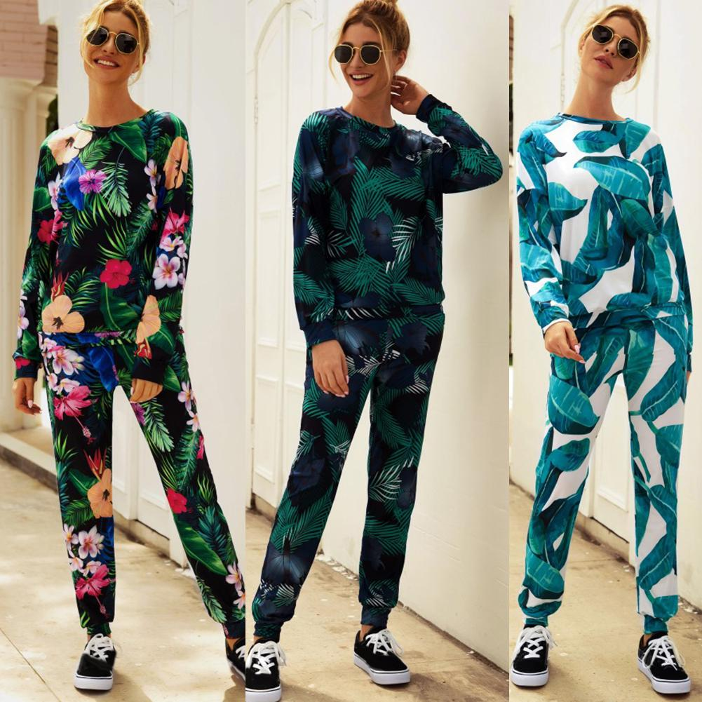 Knitted two piece set Women early autumn winter temperament Round neck long sleeve print fashion casual sports two piece set