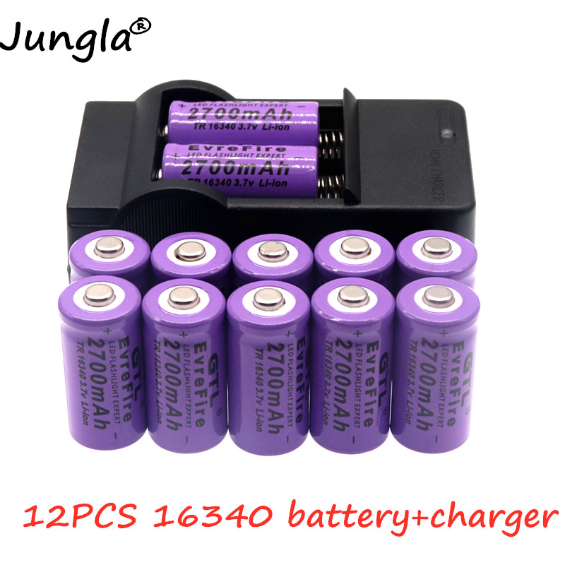 16340-Charger Rechargeable-Battery CR123A 2700mah Original Li-Ion title=