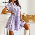 Summer Elegant Plaid Print Ruffle Shirt Dress Fashion Turn-Down Collar Button Mini Dress Women Casual Short Sleeve Party Dresses