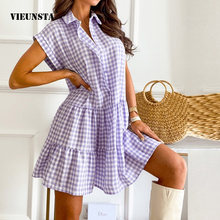 Summer Elegant Plaid Print Ruffle Shirt Dress Fashion Turn-Down Collar Button Mini Dress Women Casual Short Sleeve Party Dresses