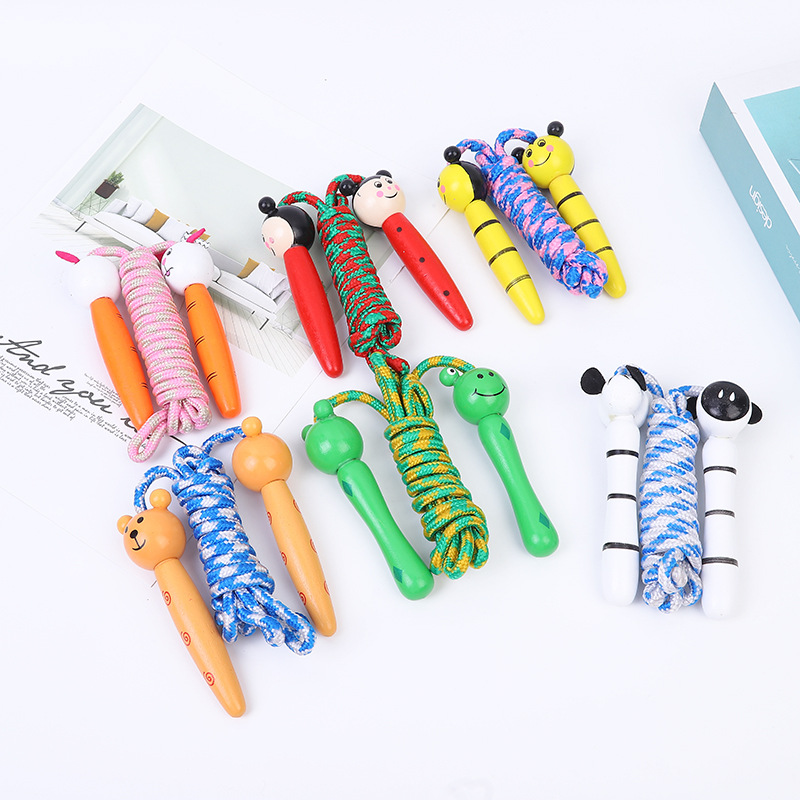 New Products CHILDREN'S Cartoon Animal Wood Jump Rope Kindergarten Young STUDENT'S Sports Jump Rope Fitness Jump Rope
