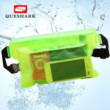 Queshark 3 Layers Waterproof Sealing Drift Diving Swimming Waist Bag Skiing Snowboard Underwater Dry Shoulder Bag For Phone