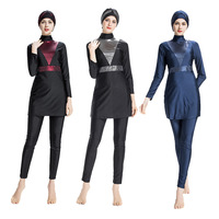 Women's Modest Islamic Swimsuits Cap Full Cover Sequin Muslim Burkini Women's Conservative Swimsuit Muslim Hooded Swimwear