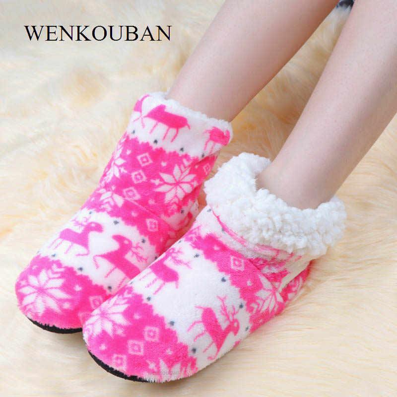 Botas de tobillo de Navidad para Mujer Botas de casa de Invierno calcetines de zapatos de piel suave algodón informal para Mujer