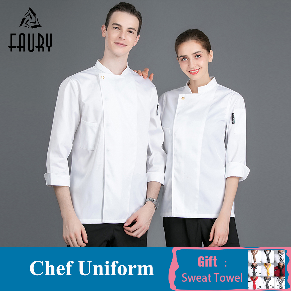 Chef Jacket Men Women Long Sleeve Kitchen Hotel Restaurant Workwear Cook Clothes Catering Waiter Baker Cafe Work Uniform
