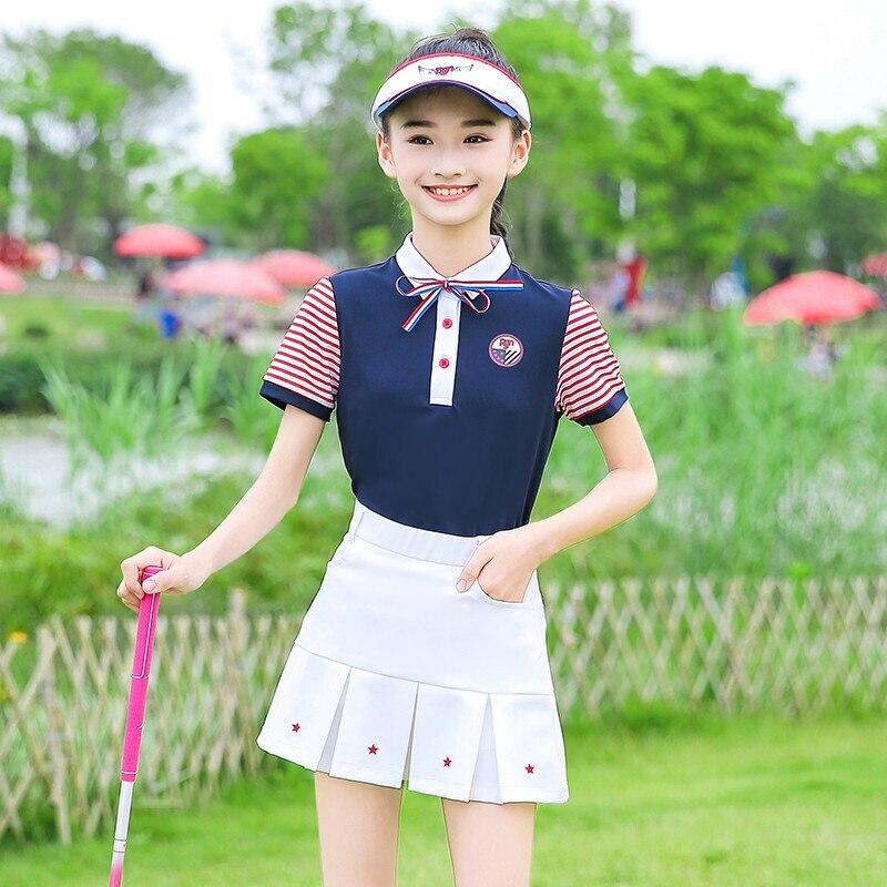 New 2019 Girl Tshirt Golf Clothing Children's Golf Clothes Girls Short Sleeve T Shirt Pleated Short Skirt Summer Team Sports Set