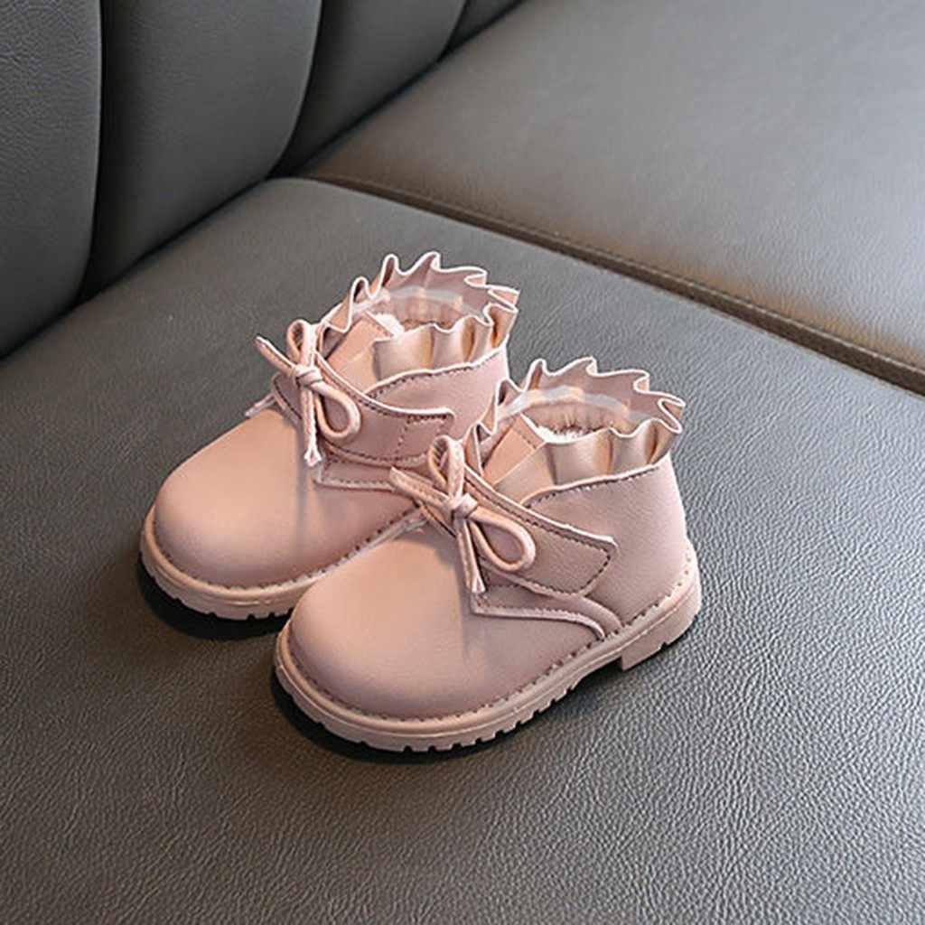2020 kız çizmeler kış Toddler bebek kız moda ilmek katı sıcak kısa çizmeler patik günlük ayakkabılar pembe Bottines Enfant Fille