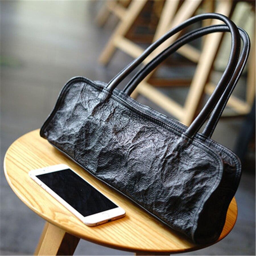 genuine leather handbag Customized European and American retro pleated cowhide-skin versatile leather black shoulder women bag