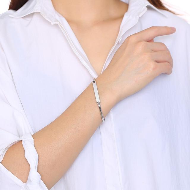 Vnox Women Custom Engrave ID Tag Cuff Bangles Bracelets Gold and Rose Gold Tone Minimalist Wrist Jewelry