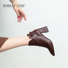 ROBESPIERE Autumn Winter Pointed Toe Ankle Boots Quality Cow Leather Women Shoes Fashion Butterfly Knot Hoof Heels Boots B53 цена в Москве и Питере