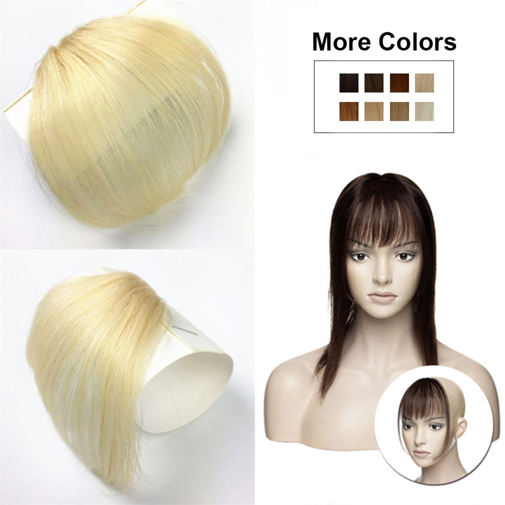 Halo Lady Clip In Air Bangs 613 Blonde Human Hair Flat Fringe Bangs Invisible Brazilian Hair Pieces Non-remy Replacement Bang