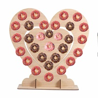 DIY Heart Shape Donut Wall Holds Candy Sweet Cart Rustic Wedding Wood Wedding Table Decor Birthday Party Decor Baby Shower