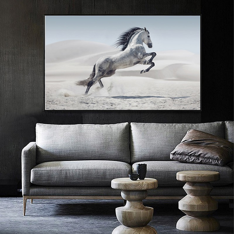 Modern Minimalist Black and White Animals Canvas Paintings Jumping Cool Horse Prints Posters Wall Pictures Living Room Decor (2)