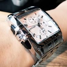 MEGIR Men Big Dial Fashion Business Analog Quartz Wrist Watch Stainless Steel Strap Sports Watches Clock Male Relogio Masculino