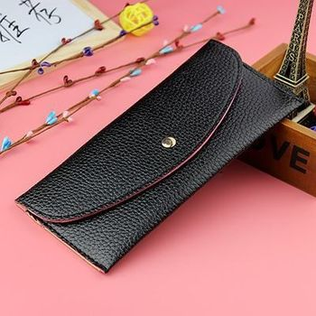New Cute PU Leather Purse Heart-shaped Decoration Long Multi-card Wallet Purse Buckle Clutch Mobile Phone Student Women's Wallet image